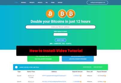 onepage BTC Doubler script install video tutorial