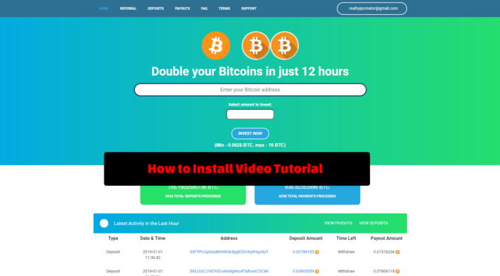 onepage BTC Doubler Script install Video Tutorial